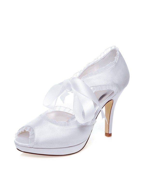 Women's Satin Peep Toe With Silk Stiletto Heel Wedding Shoes