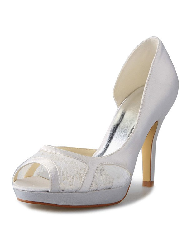 Women's Stiletto Heel Satin Platform Peep Toe With Lace Wedding Shoes
