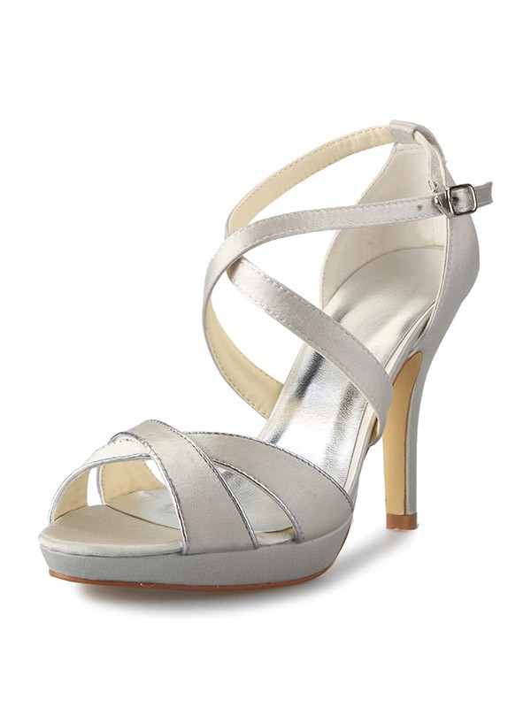 Women's Satin Stiletto Heel Platform Peep Toe With Buckle Wedding Shoes