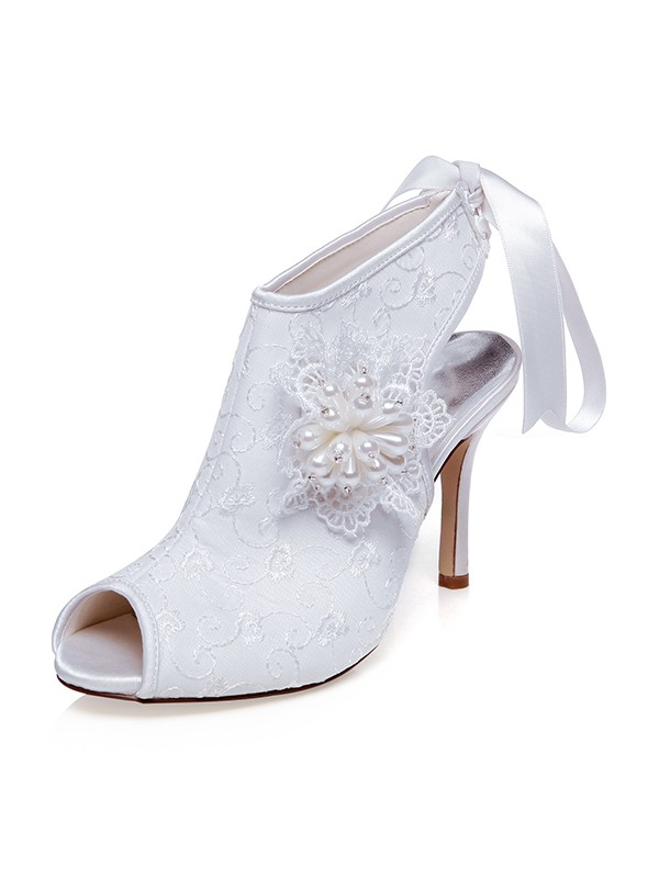 Women's Satin Peep Toe With Flower Stiletto Heel Wedding Shoes
