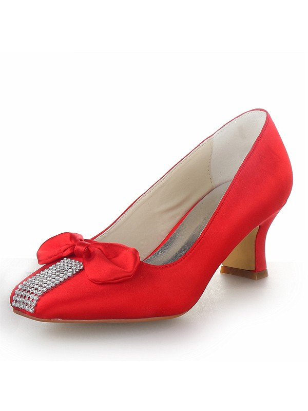 Women's Satin Chunky Heel Closed Toe With Bowknot Party & Evening Shoes