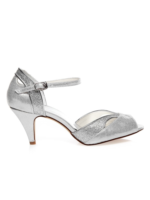 Women's PU Peep Toe With Buckle Cone Heel Wedding Shoes