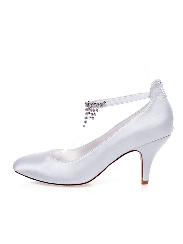 Women's Satin Closed Toe With Beading Spool Heel Wedding Shoes