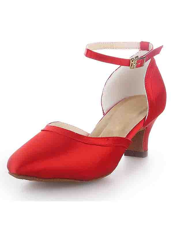 Women's Closed Toe Kitten Heel Satin With Buckle Shoes