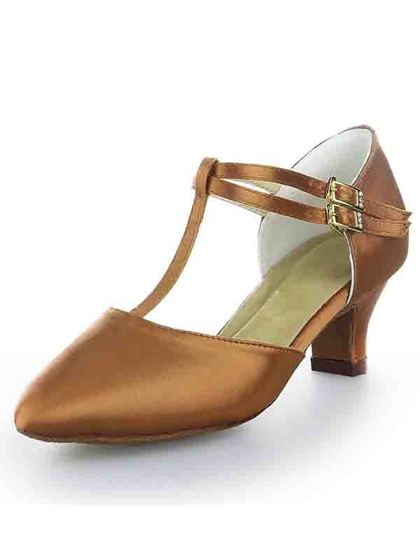 Women's T-Strap Satin Closed Toe Kitten Heel With Buckle Shoes