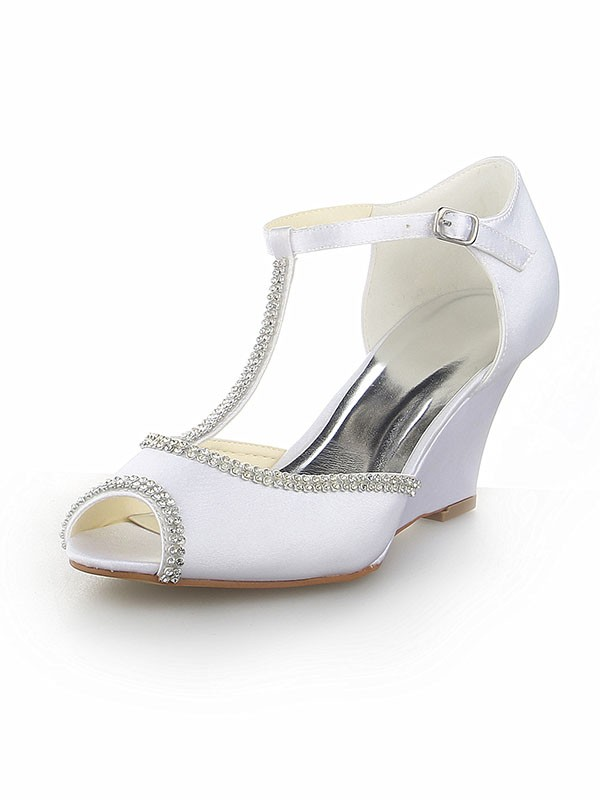 Women's Peep Toe T-Strap With Rhinestone Satin Wedge Heel Wedding Shoes