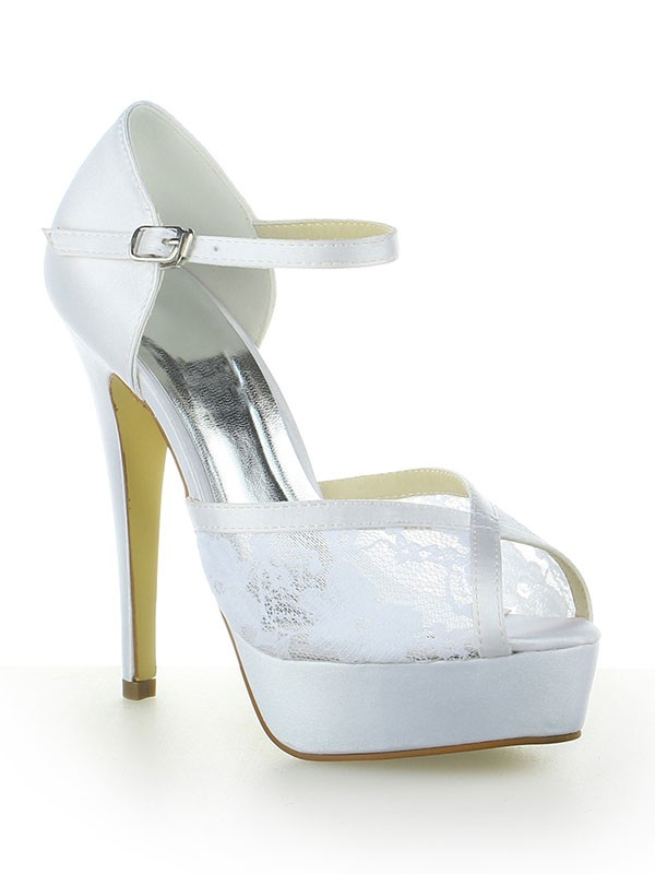 Women's Satin Lace Platform Peep Toe With Buckle Stiletto Heel Wedding Shoes