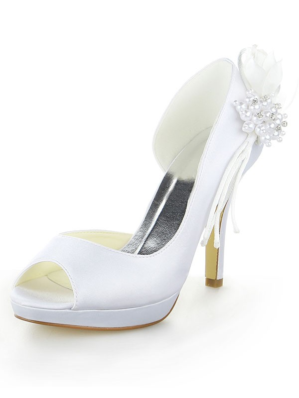 Women's Satin Platform Peep Toe Stiletto Heel With Pearl Wedding Shoes
