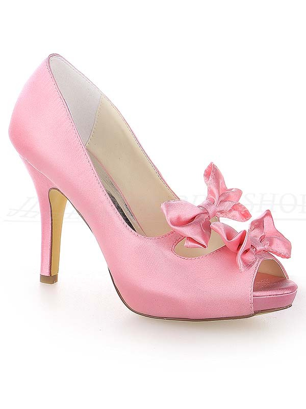 Women's Satin Peep Toe Stiletto Heel Platform With Bowknot Wedding Shoes
