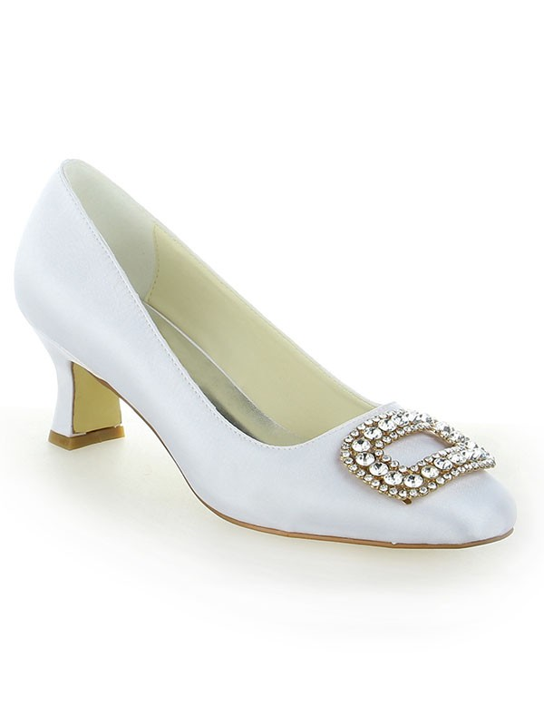 Women's Closed Toe Chunky Heel With Rhinestone Shoes