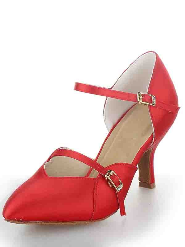 Women's Stiletto Heel Satin Closed Toe With Buckle Dance Shoes