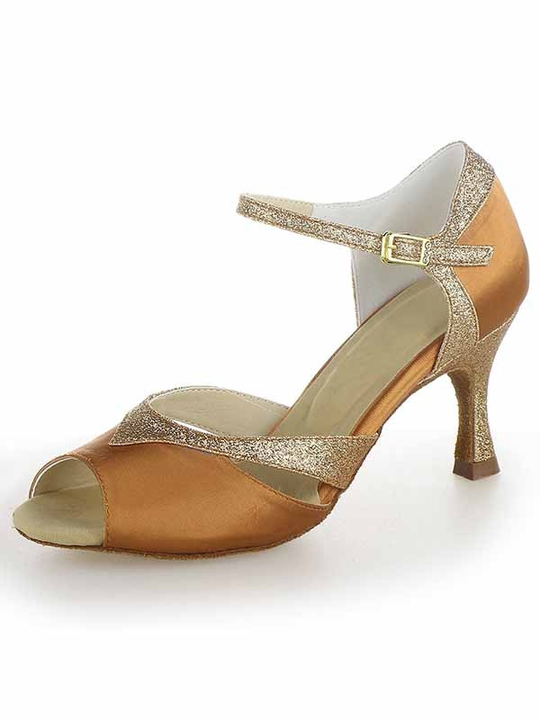 Women's Satin Peep Toe Stiletto Heel With Sparkling Glitter Dance Shoes
