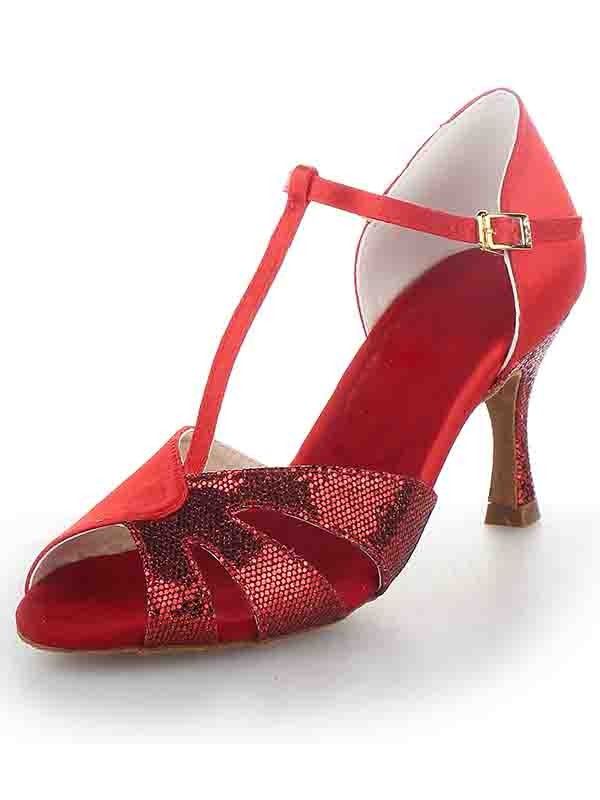 Women's T-Strap Peep Toe Stiletto Heel Satin With Sparkling Glitter Dance Shoes