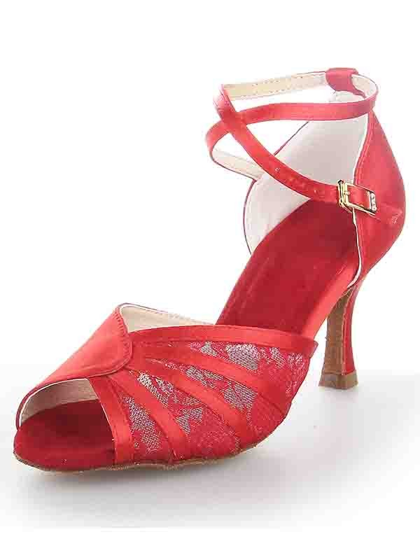 Women's Stiletto Heel Satin Peep Toe With Buckle Dance Shoes
