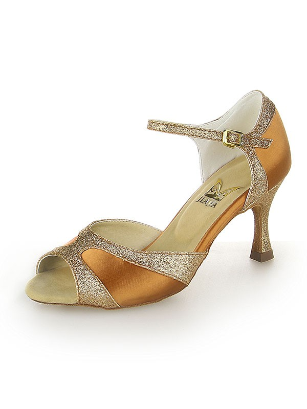 Women's Satin Peep Toe With Sparkling Glitter Stiletto Heel Dance Shoes