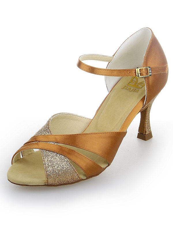 Women's Peep Toe Satin Stiletto Heel With Sparkling Glitter Dance Shoes