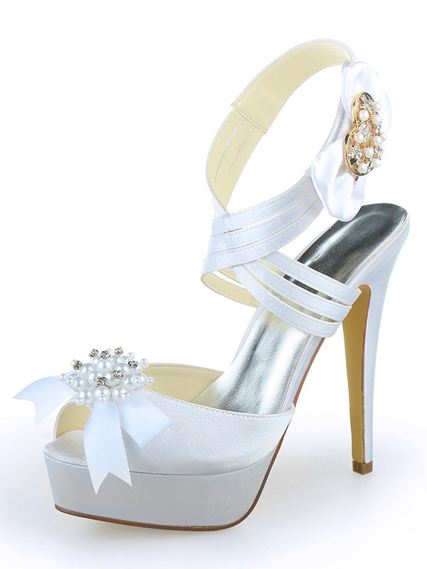 Women's Satin Peep Toe Platform Stiletto Heel With Pearl Wedding Shoes