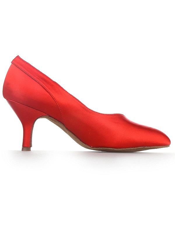 Women's Red Closed Toe Cone Heel Satin Party Shoes