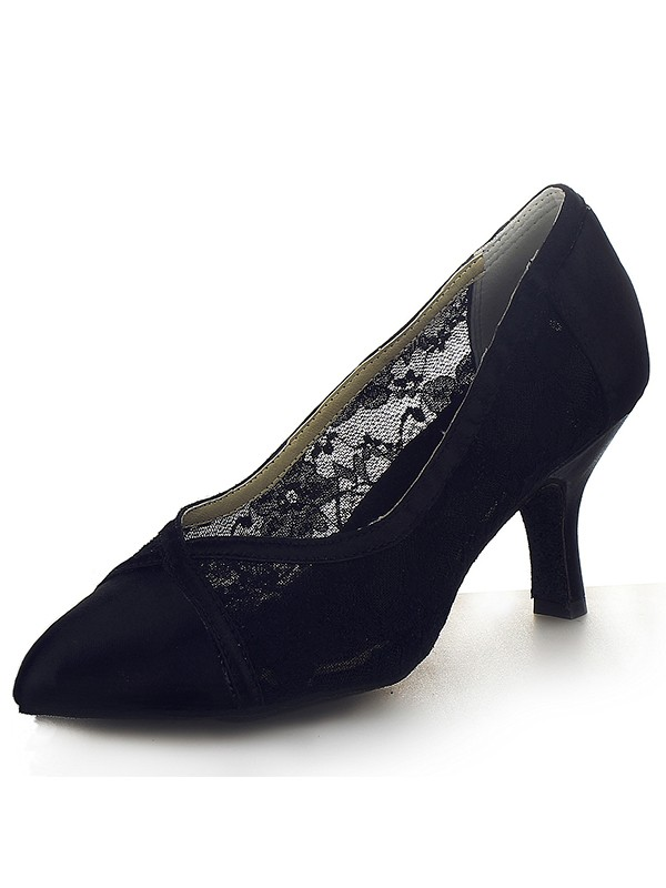 Women's Closed Toe Satin Cone Heel Office Shoes