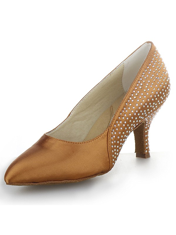 Women's Cone Heel Satin Closed Toe With Rhinestone Party Shoes
