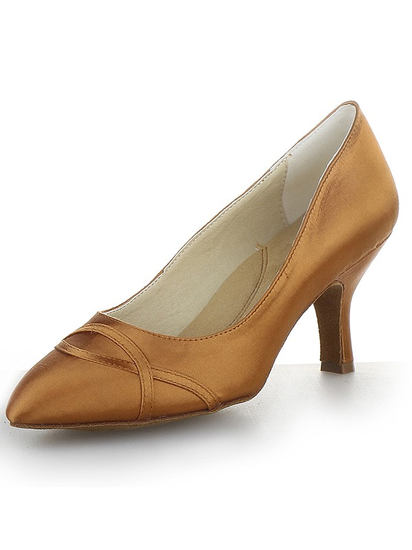 Women's Closed Toe Satin Cone Heel Party Shoes
