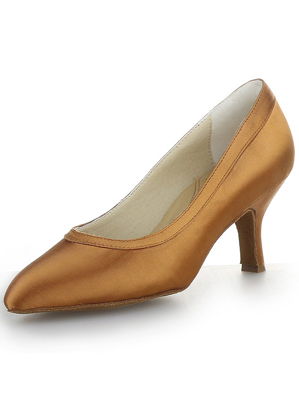Women's Satin Closed Toe Cone Heel Party Shoes