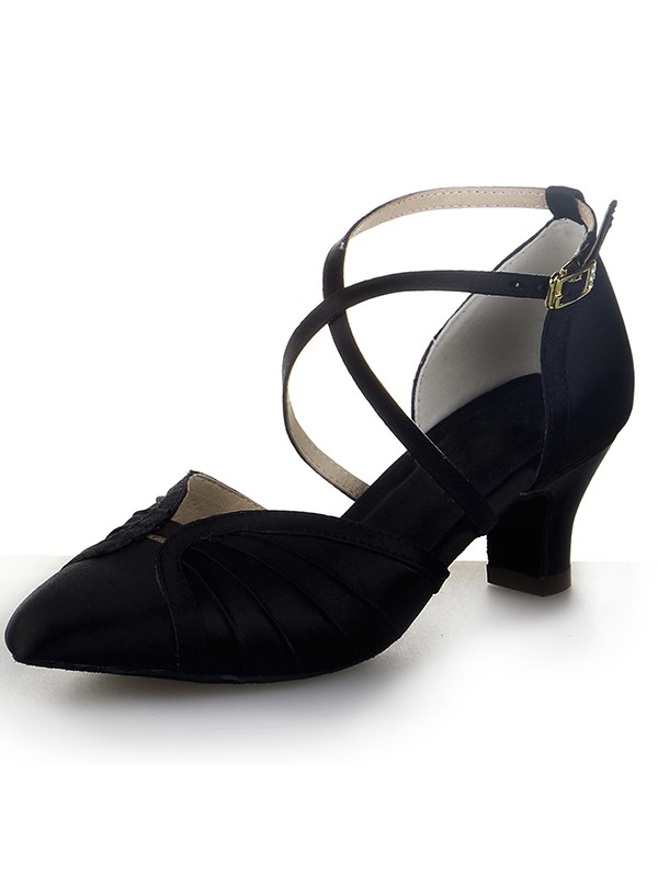 Women's Closed Toe Satin Chunky Heel With Buckle Dance Shoes