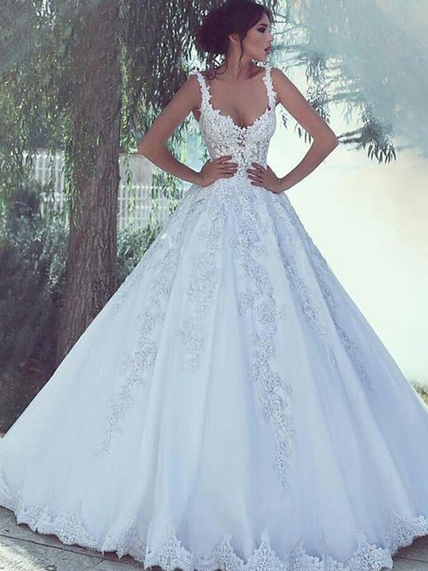 Ball Gown Scoop Sweep/Brush Train Lace Satin Wedding Dresses