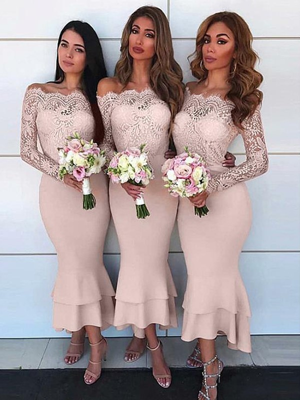 Sheath/Column Off-the-Shoulder Ankle-Length Lace Jersey Bridesmaid Dresses