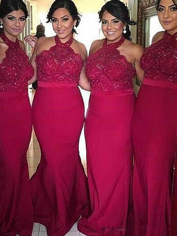 Sheath/Column Halter Sweep/Brush Train Lace Satin Bridesmaid Dresses