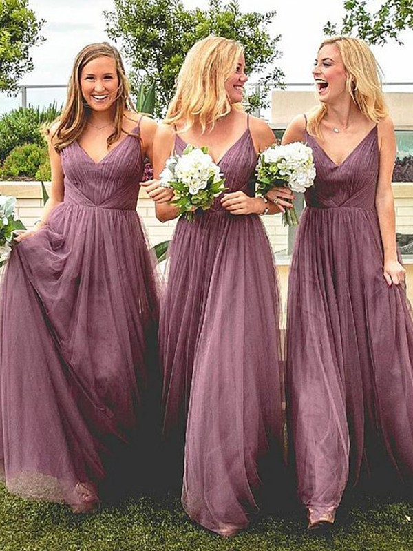 A-Line/Princess Spaghetti Straps Floor-Length Ruffles Tulle Bridesmaid Dresses
