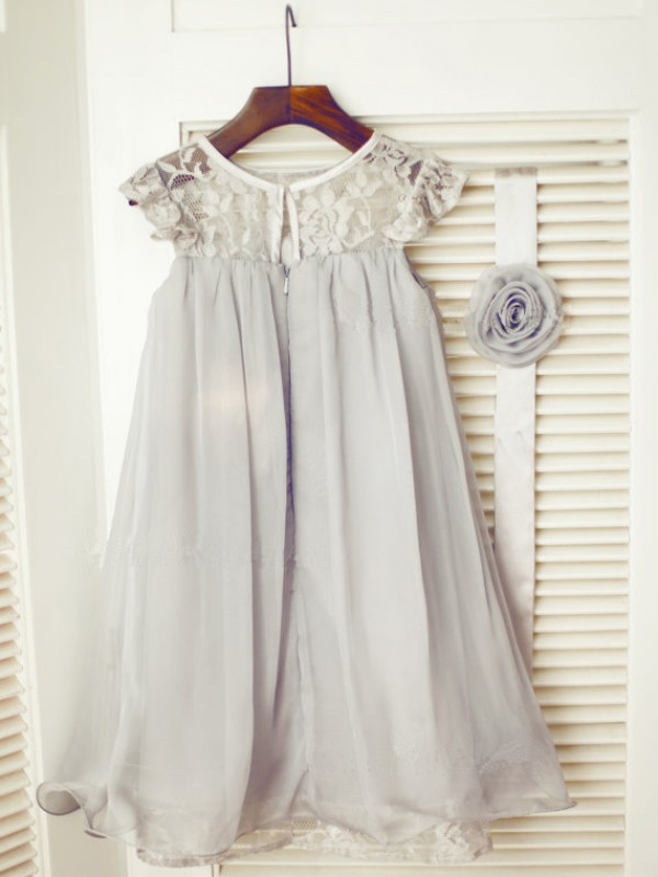 A-line/Princess Scoop Lace Tea-Length Chiffon Dresses