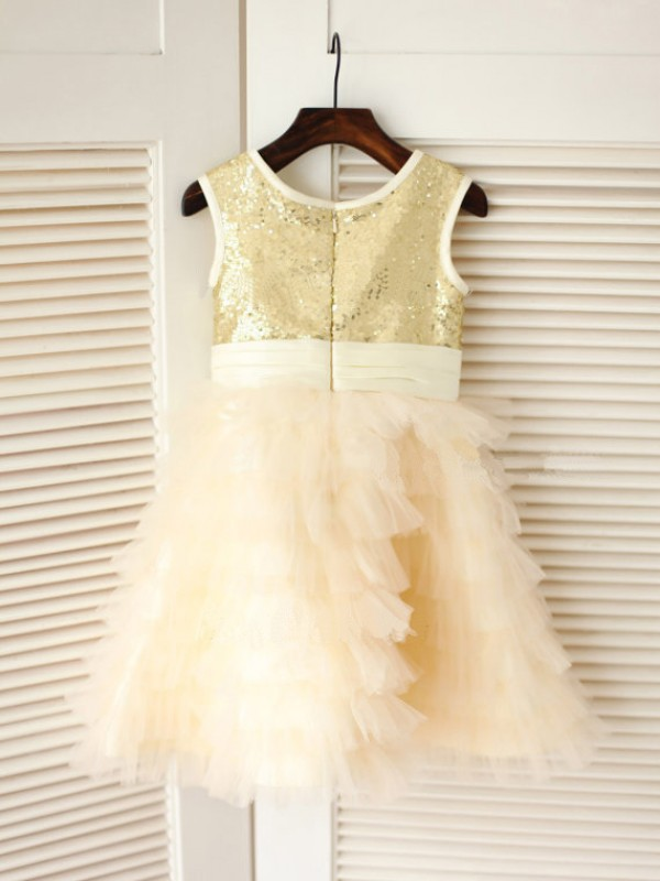 Princess Scoop Sleeveless Bowknot Tea-Length Tulle Dresses