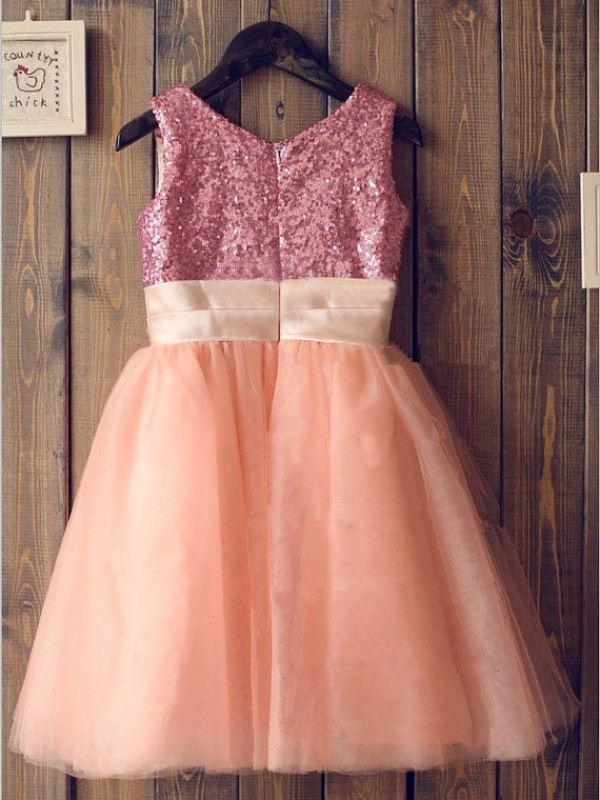 A-line/Princess Scoop Sleeveless Sequin Knee-Length Tulle Dresses