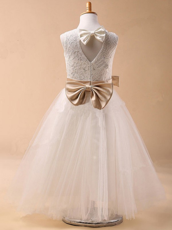 Jewel Ball Gown Sleeveless Bowknot Tea-Length Tulle Dresses
