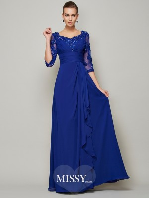 A-line Chiffon Scoop 3/4 Sleeves Long Mother of the Bride Dresses