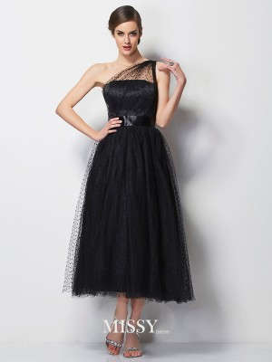 A-Line/Princess One-Shoulder Sleeveless Pleats Elastic Woven Satin Tea-Length Dress
