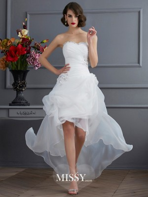 A-Line/Princess Sweetheart Sleeveless Applique Organza Asymmetrical Wedding Dress