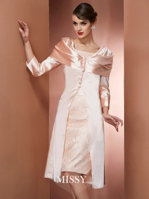 Sheath/Column Square Sleeveless Knee-Length Elastic Woven Satin Dress