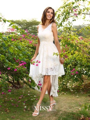A-Line/Princess V-neck Lace Sleeveless Asymmetrical Bridesmaid Dress