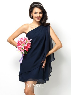A-Line/Princess One-Shoulder Sleeveless Short/Mini Chiffon Bridesmaid Dress