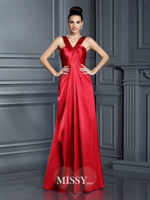 A-Line/Princess Straps Sleeveless Floor-Length Elastic Woven Satin Dress