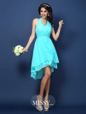 A-Line/Princess Halter Sleeveless Pleats Short/Mini Chiffon Bridesmaid Dress