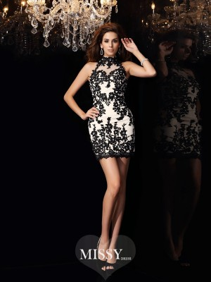 Sheath/Column High Neck Chiffon Sleeveless Applique Beading Short/Mini Gowns