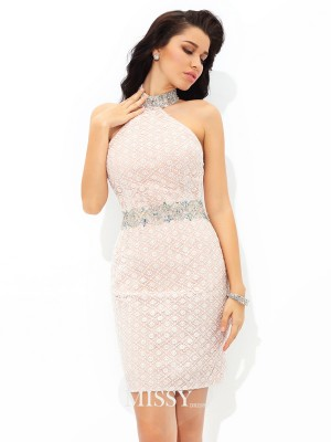 Sheath/Column Halter Sleeveless Lace Short/Mini Satin Cocktail Dress