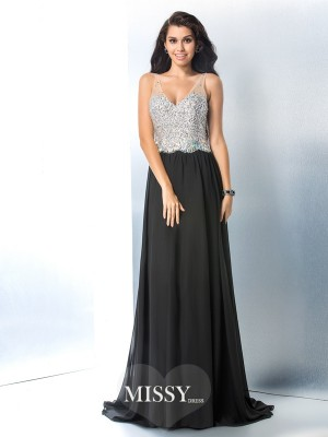 V-neck Sleeveless Beading Sweep/Brush Train Chiffon Dress