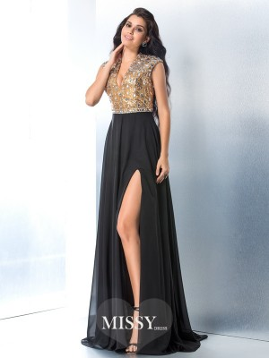 A-Line/Princess V-neck Sleeveless Rhinestone Sweep/Brush Train Chiffon Dress