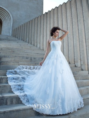 Ball Gown Sleeveless Strapless Satin Chapel Train Applique Wedding Dress