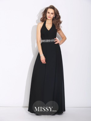 A-Line/Princess Halter Beading Floor-Length Chiffon Bridesmaid Dresses
