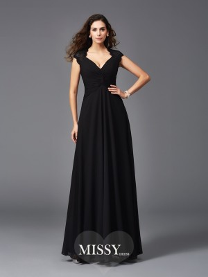 Princess V-neck Sleeveless Chiffon Floor-Length Bridesmaid Dresses